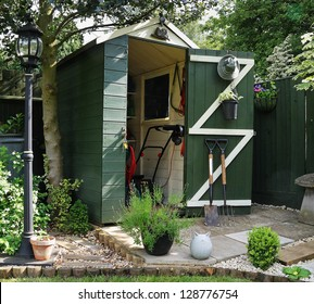 English back garden Shed and paved area