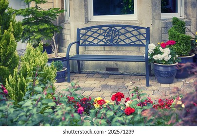 english bench in home yard