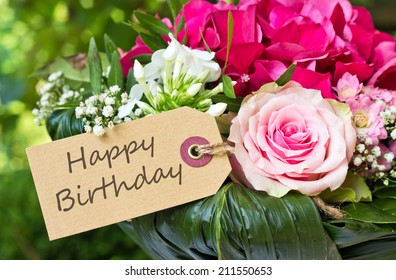 English Birthday Card With Pink Flowers Happy