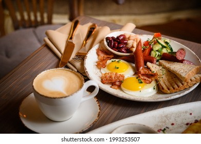 English breakfast with coffee cappuccino