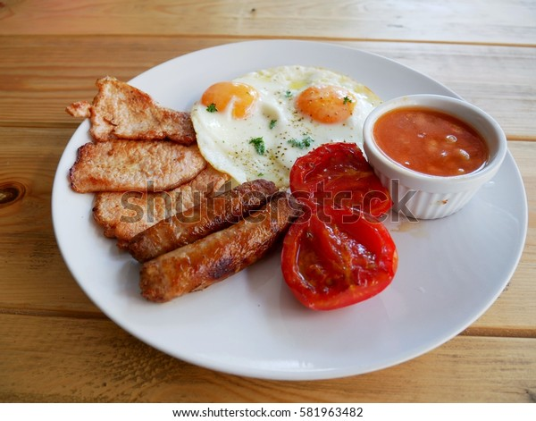 English Breakfast with wood table back ground