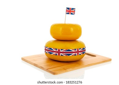 English or British cheese with flag ribbon