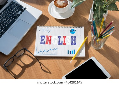 ENGLISH ( British England Language Education ) open book on table and coffee Business