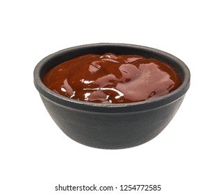 English brown sauce isolated on white background. Barbecue sauce on white background