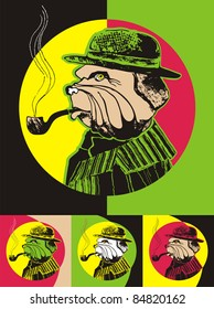 English Bulldog. Portrait of a dog in the image of smoking detective. Style Pop art.