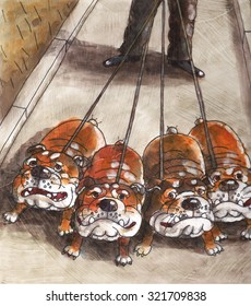 English bulldogs were taken for a walk the breed of dog the animals house of the man illustration watercolor art