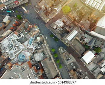 English city aerial top view - Old English city drone top view