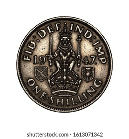 english coin one shilling on white background