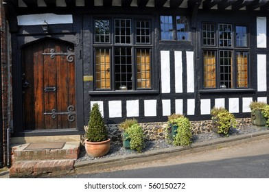 English cottage made with wooden beams