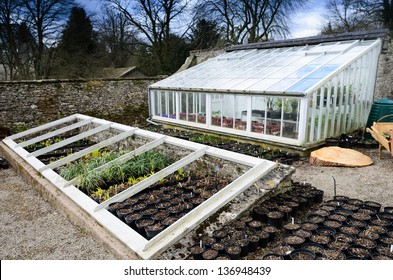 An English Country Garden Greenhouse and Allotment