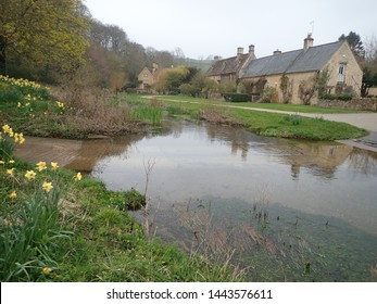 English country river scene in Spring
