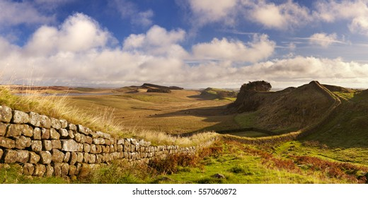 English countryside with Hadrian's Wall in beautiful early morning light. Photographed near the Housesteads Fort.