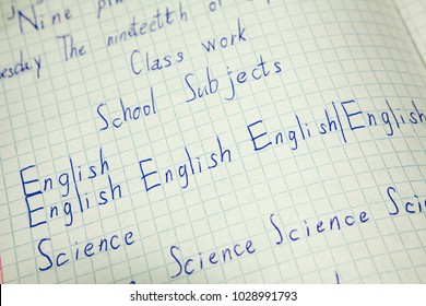 English education, vocabulary note-book with inscription English, science words