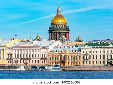 English embankment and dome of St. Isaac's Cathedral, Saint Petersburg, Russia