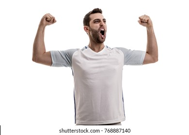 English fan celebrating on white background