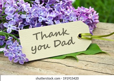 english Father`s Day card with lilac/Thank you Dad/english