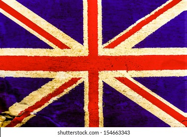 English flag on old brown paper texture seamless surface background