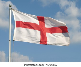 The English Flag, The Saint George's Cross, Flying at Full Mast