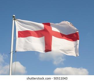 English Flag, the Saint George's Cross, Flying at Full Mast
