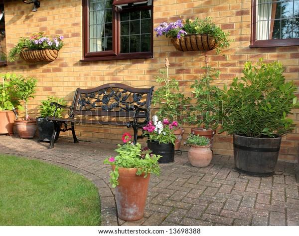 Astounding English Garden Patio Area Bench Seat Stock Image Download Now Machost Co Dining Chair Design Ideas Machostcouk