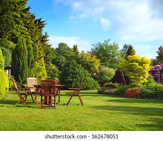 English garden in summer