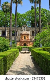 English gardens of the Alcazar Palace, Seville, Spain