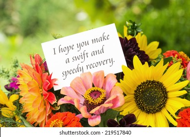 english greeting card with summer flowersi hope you make a swift and speedy recovery