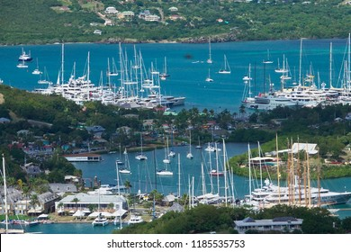 English Harbour and Nelsons Dockyard, Antigua and Barbuda; view from Shirley Heights.