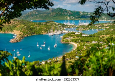 English harbour and Nelsons Dockyard in Antigua and Barbuda, paradise island of antigua in the caribbean at the viewpoint of Shirley Heights and Freeman's bay