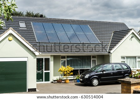 English House Solar Panels On Roof Stock Photo Edit Now 630514004