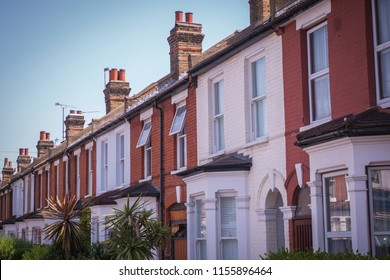 English houses- a typical row of terraced red brick houses in south west London