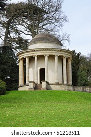 An English Landscape garden with Roman style temple