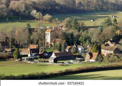 English Landscape overlooking the Hamlet of Fingest  in the Chiltern Hills