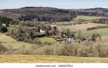 English Landscape overlooking the Hamlet of Middle Assenden in the Chiltern Hills