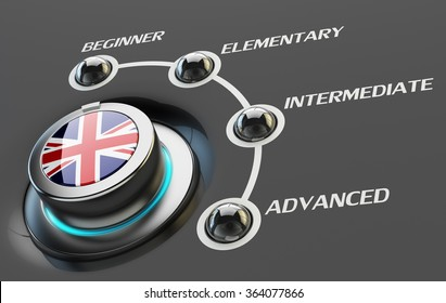English language courses, learning and education concept, switch knob button with UK national flag and skill levels of proficiency