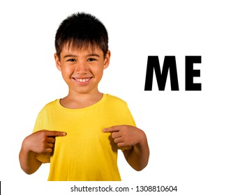 English language learning card with 8 years old child pointing with fingers to himself and the  word ME isolated on white background as part of school cards education set of personal pronouns