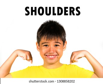 English language learning card child pointing with fingers to his shoulders isolated on white background as part of school cards set of body and face parts in education and idiom lesson