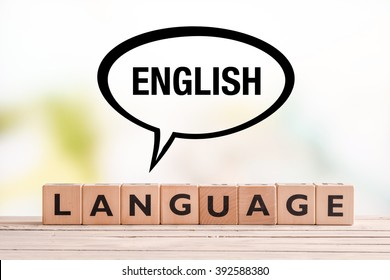 English language lesson sign made of cubes on a table