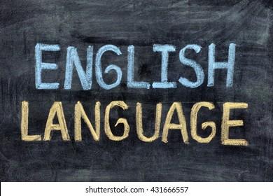 English language. English Language on blackboard. Close up.