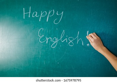 English lesson, school, learn foreign language. Chalkboard. Verb tenses Grammar.