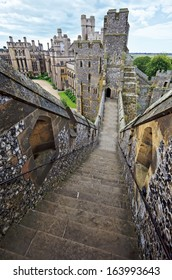 English medieval castle of Arundel the seat of the Dukes of Norfolk. Ancient stone fortification from middle ages