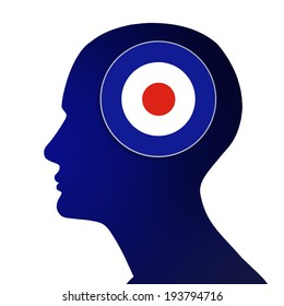 English mod target with human head and white background