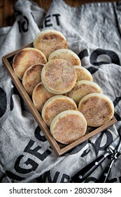 English muffins on a tray for breakfast