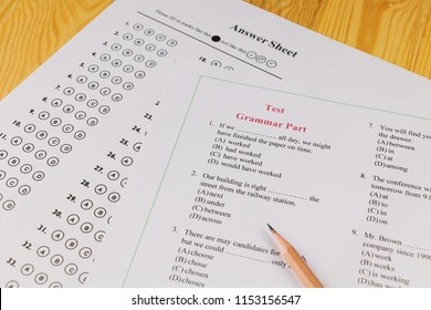 English multiple choice test on table