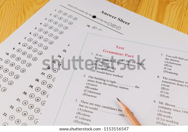 English Multiple Choice Test On Table Stock Photo (Edit Now