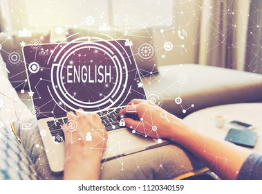 English with person using a laptop computer