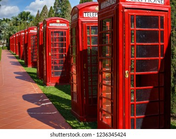 English phone booths in the national park of thailand