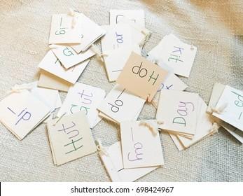 English phonic word DIY card. Education concept.