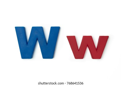 """English Plastic Letter """" W and w """". Capital Letter and Small Letter on white background. Top view."""