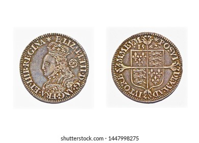 An English pre-decimal sixpence dated 1562 with the bust of Queen Elizabeth I on the obverse and isolated on a white background. This is one of the earlies examples of milled coinage in Great Britain.
